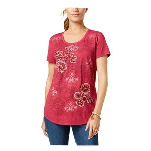 Style & Co Embroidered Garden Tee Wine XL